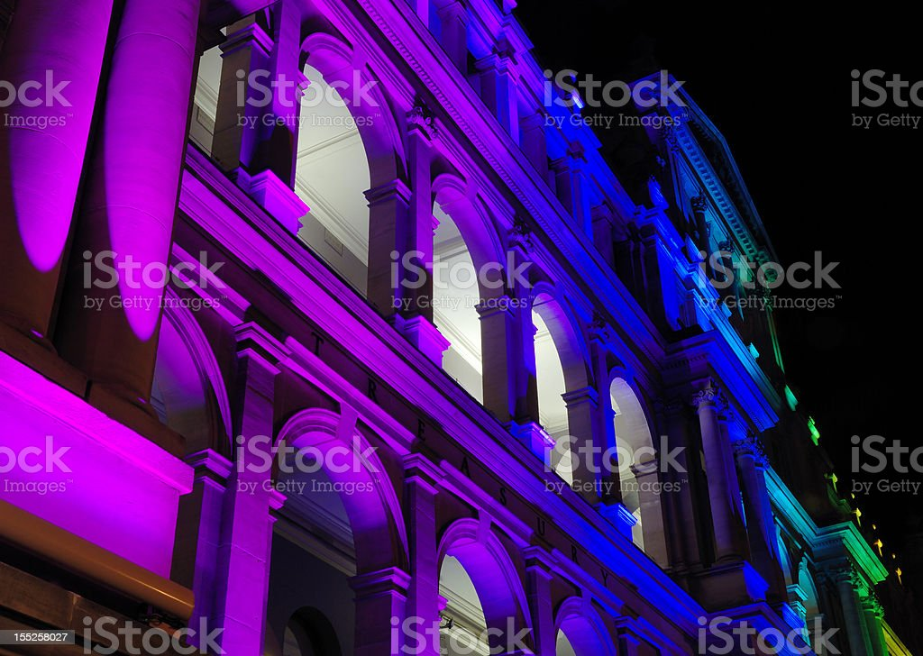 Illuminated Treasury Building in Brisbane royalty-free stock photo