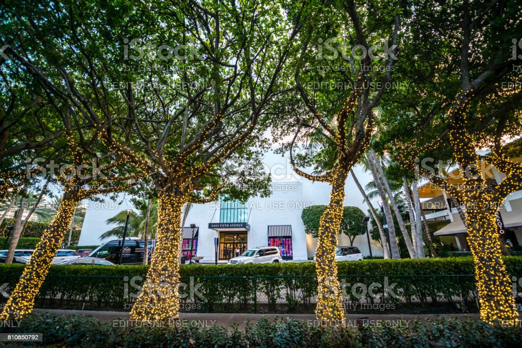 Illuminated trees at Bal Harbour Shopping Mall, Miami Beach, USA stock photo