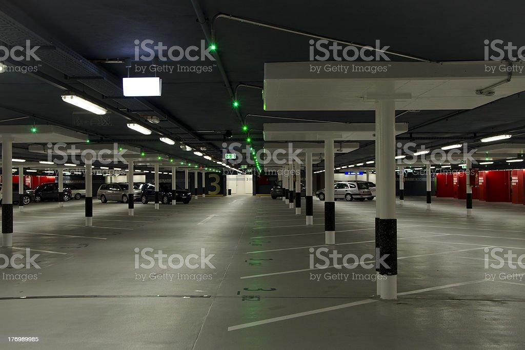 Illuminated Underground Parking Garage royalty-free stock photo