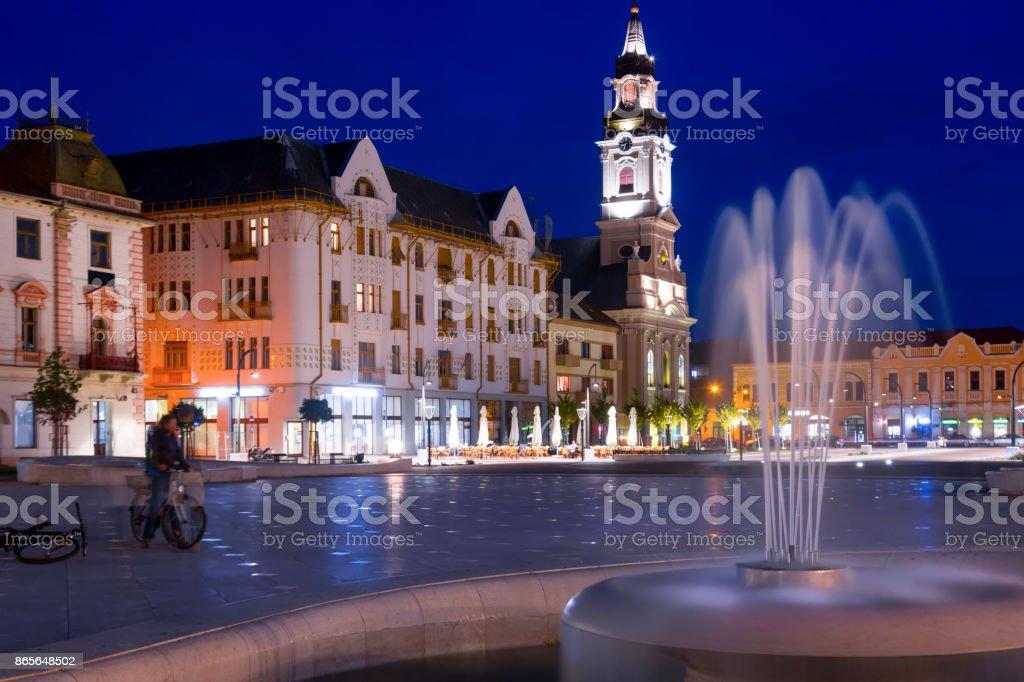 Illuminated Unirii Square in Oradea stock photo