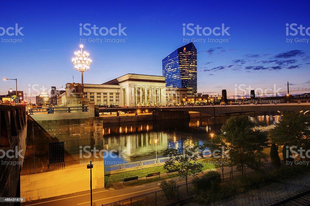 Illuminated Urban Philadelphia City Buildings at Dusk stock photo