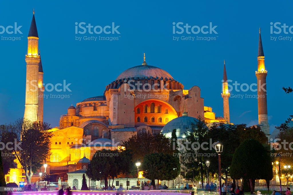 Illuminated view of aya sofia mosque in istanbul, turkey stock photo