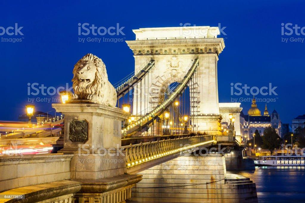 Illuminated view of Chain Bridge and St Stephen's Basilica stock photo