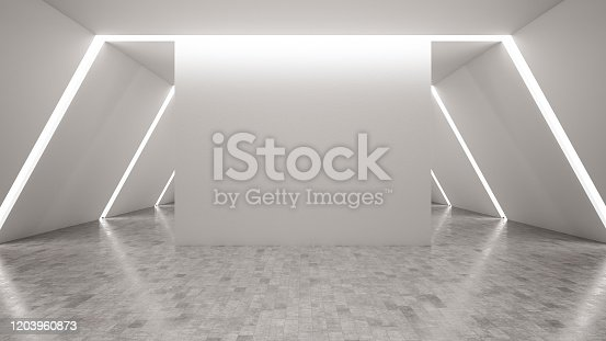Illuminated White Room with Empty Wall. 3d Render