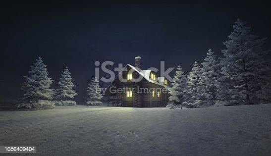 winter season outdoor scenery 3D illustration