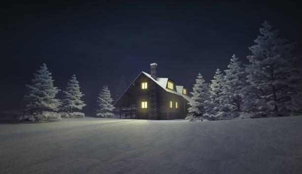 beleuchtete holzhäuschen am ruhigen winterlandschaft - skihütte stock-fotos und bilder