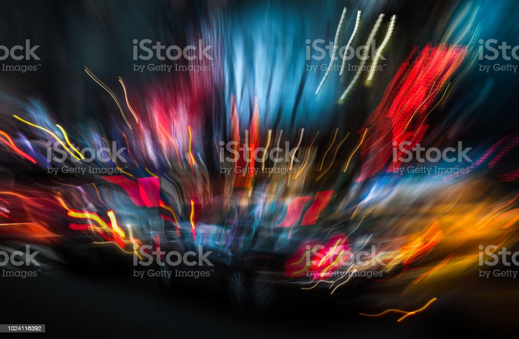 Illumination and night lights of NYC stock photo