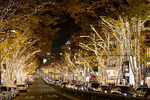 illumination of the shopping area - weihnachten japan stock-fotos und bilder