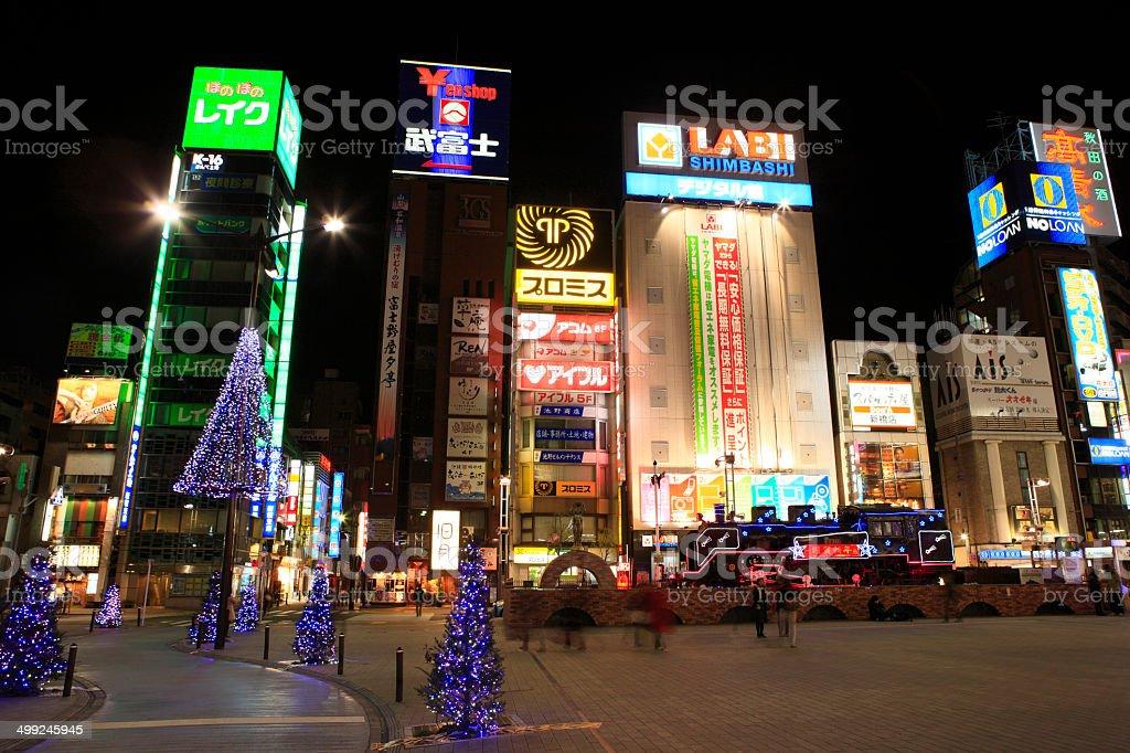 Illuminations around Shinbashi StationHibiya Exit, SL square stock photo