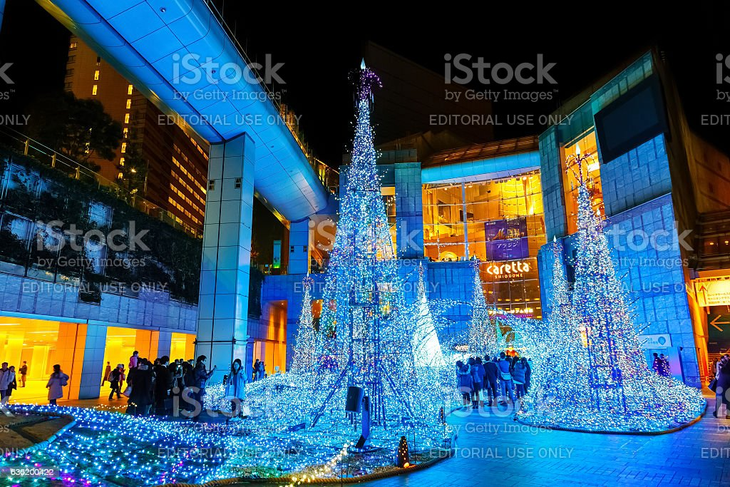Illuminations light up at at Caretta shopping mall stock photo