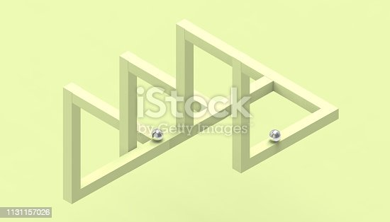 istock Illusion impossible shapes geometry Creative Line up Design on Pastel Yellow Background - 3d rendering 1131157026