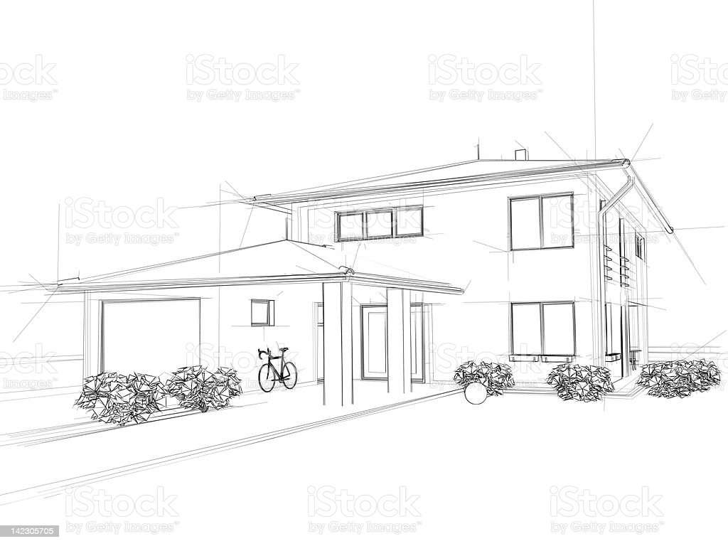 Illustation of a house. Black ink drawing. stock photo