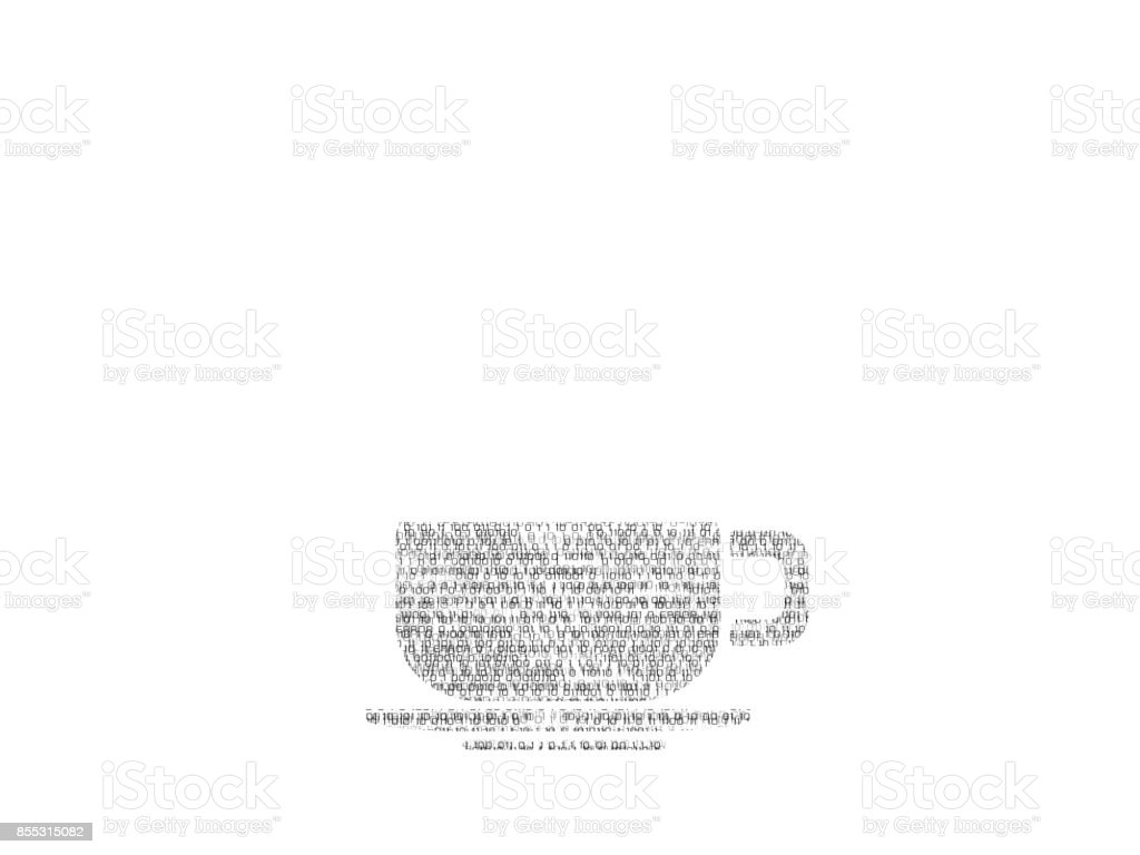 illustrate abstract coffee cup logo made of binary code stock photo