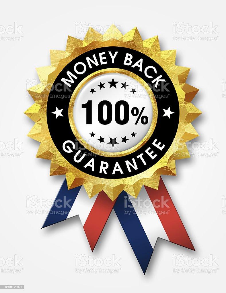 Illustrated 100% money back guarantee badge stock photo