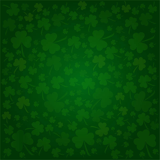 illustrated clover background designed for st. patrick's day - st patricks day background stock photos and pictures