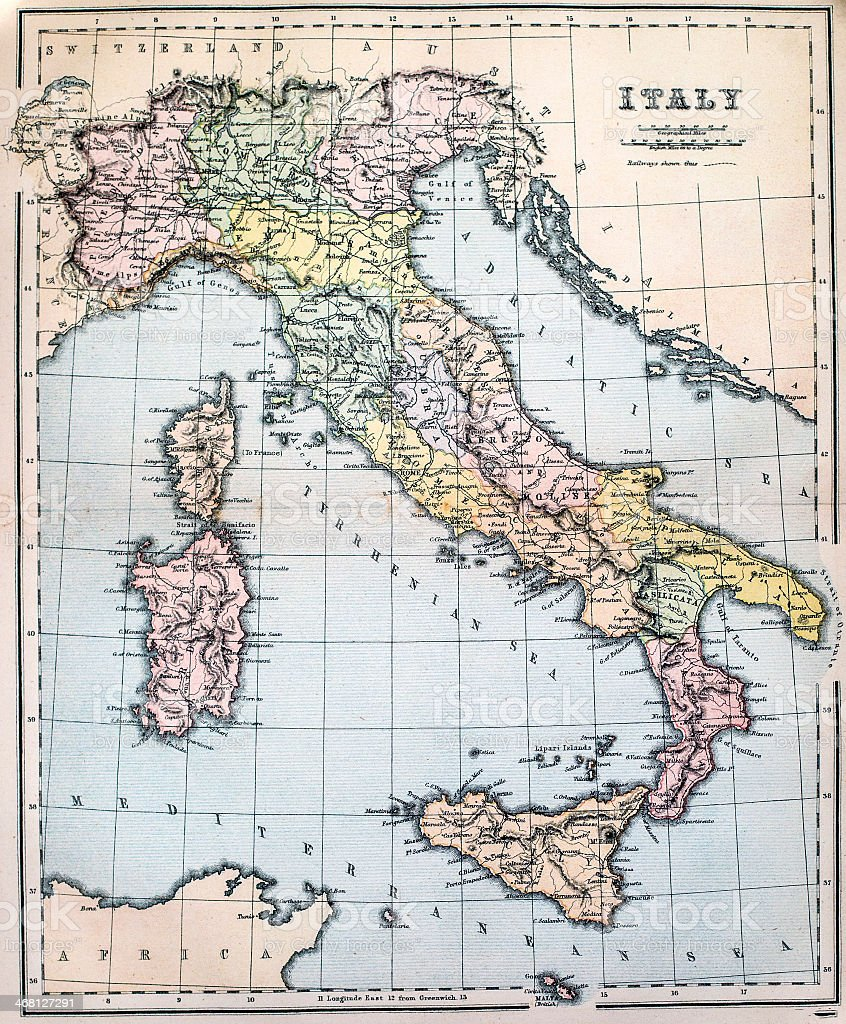 Illustrated colored antique map of Italy stock photo