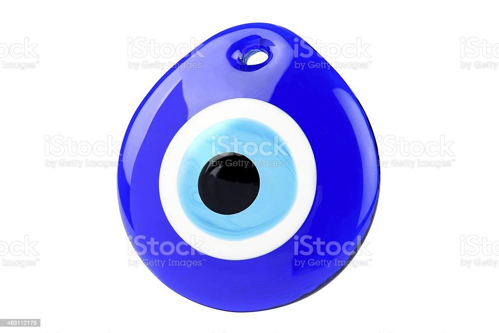 Illustrated evil eye of bazar amulet on white background stock photo