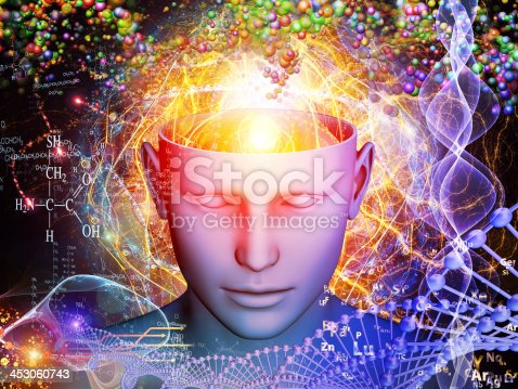 istock Illustrated human head with open mind revealing chemistry 453060743