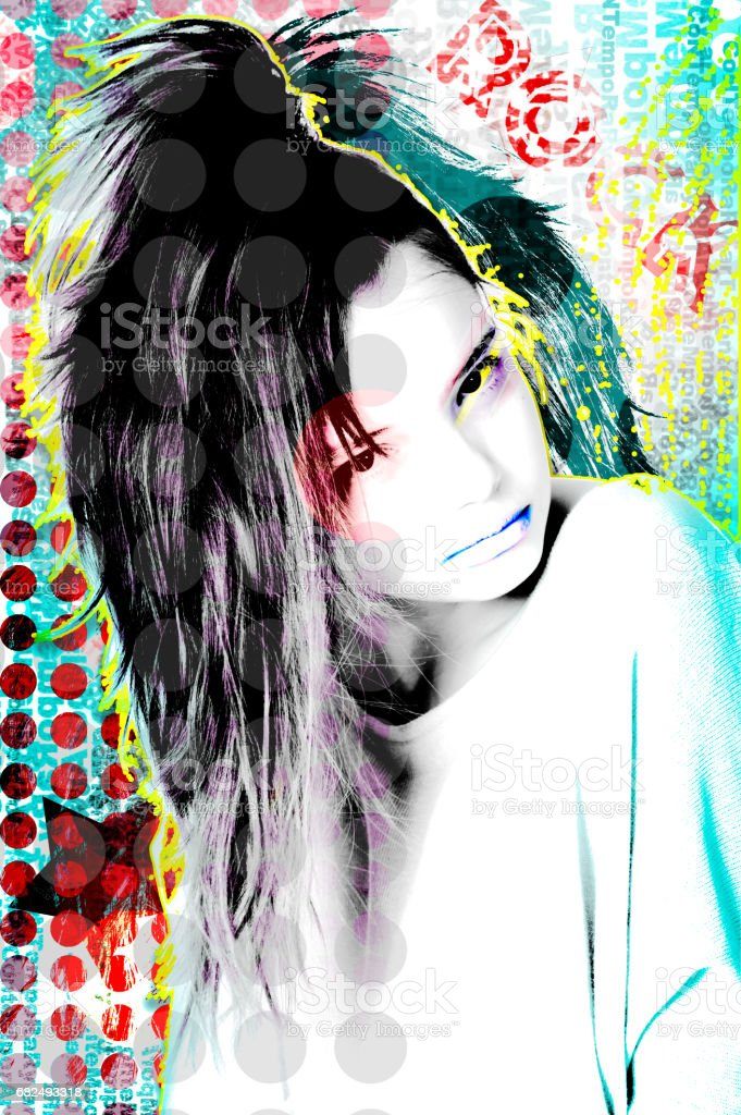 Illustrated portrait of a young girl decorated in a modern style Pop Art. foto de stock libre de derechos