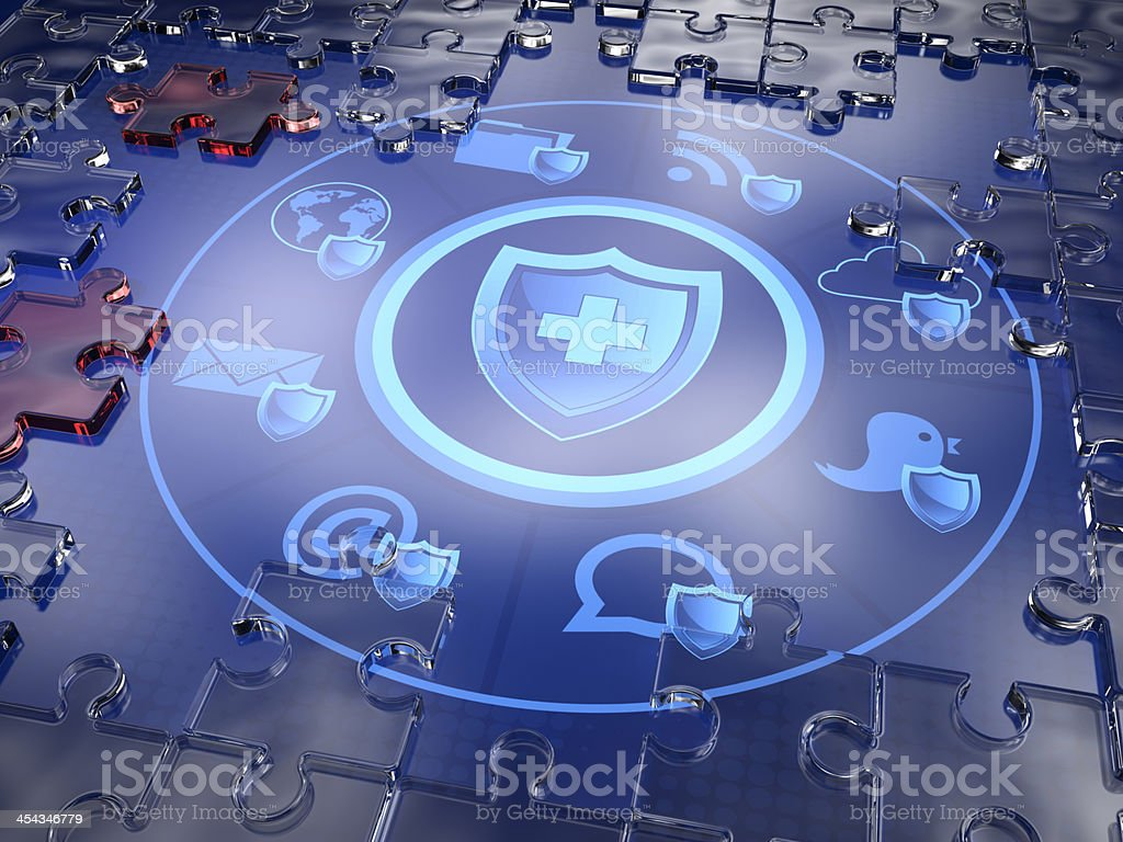 3D illustrated security shield with icons stock photo