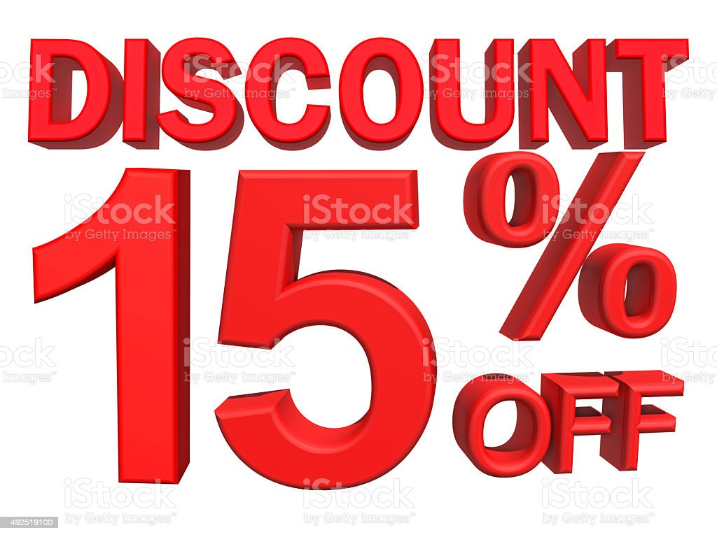 3D illustration - 15 percent discount on white background stock photo