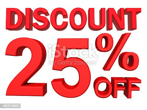 530872967 istock photo 3D illustration - 25 percent discount on white background 492519932