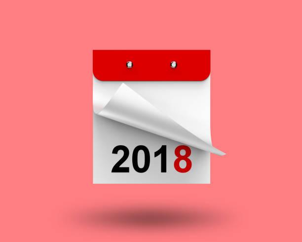 illustration 3d, 3d rendering éphémérides calendrier année 2018 sur un fond rose avec une feuille vierge et une place pour le texte - calendrier digital journée photos et images de collection