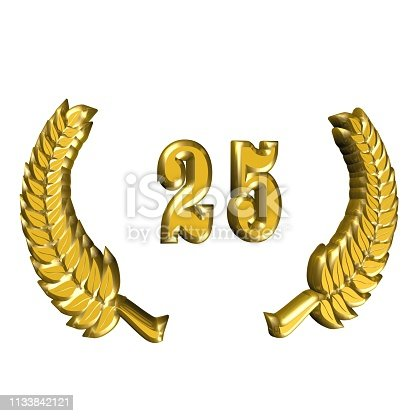 870618752 istock photo 3D illustration: A laurel wreath for the anniversary with number 1133842121