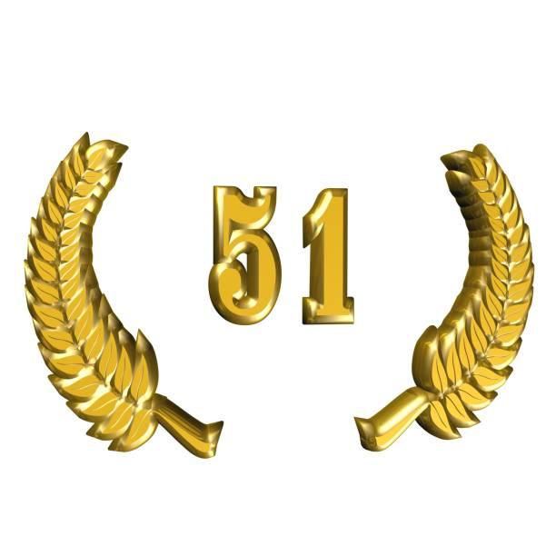 ilustración 3d: una guirnalda de laurel para el aniversario con el número - numero 51 fotografías e imágenes de stock