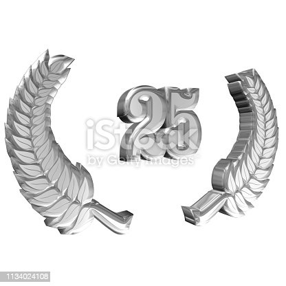870618752 istock photo 3D illustration: A laurel wreath for the anniversary with number 1134024108