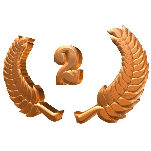 3D Illustration: A Laurel Wreath with the Number 2, Symbol Image for an Anniversary, Anniversaries, Achievements stock photo