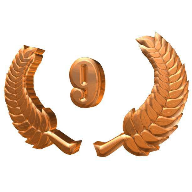 3D Illustration: A Laurel Wreath with the Number 9, Symbol Image for an Anniversary, Anniversaries, Achievements stock photo