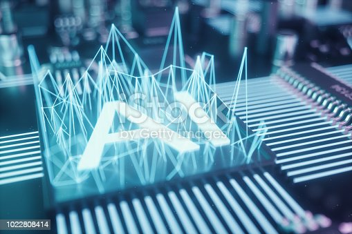 1195482922istockphoto 3D illustration abstract artificial intelligence on a printed circuit board. Technology and engineering concept. Neurons of artificial intelligence. Electronic chip, head processor. 1022808414