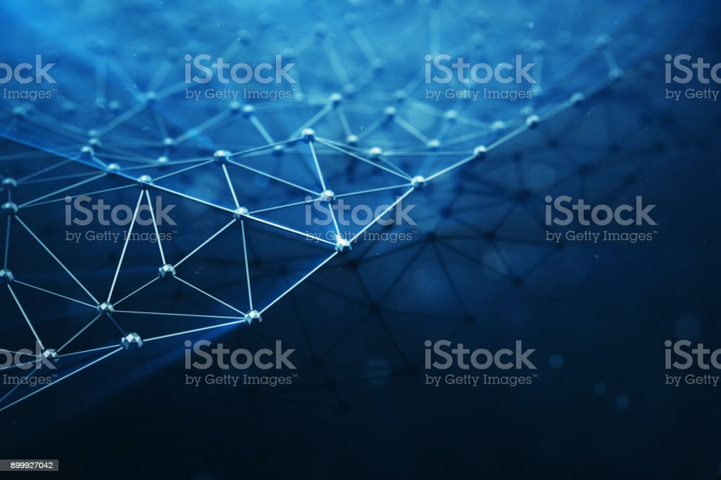 3D illustration Abstract bacgkround connection dots and lines of technology. Connection structure. Science background. Futuristic polygonal background. stock photo