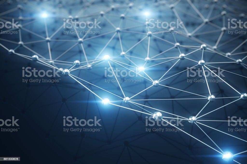 3D Illustration, Abstract background. Concept neural network and cloud computing. Geometry with connections lines and points that can represent cloud computing or internet connections stock photo