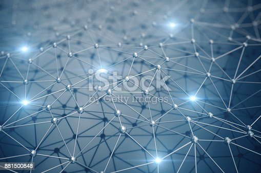 istock 3D Illustration, Abstract background. Concept neural network and cloud computing. Geometry with connections lines and points that can represent cloud computing or internet connections 881500848