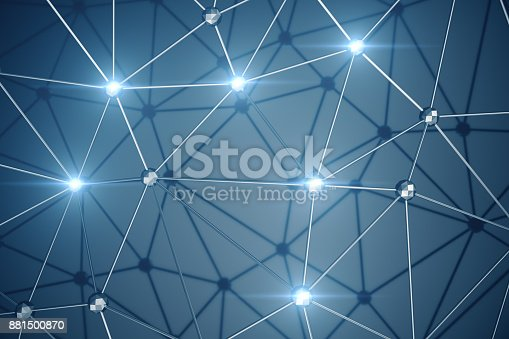 istock 3D Illustration, Abstract background. Concept neural network and cloud computing. Geometry with connections lines and points that can represent cloud computing or internet connections 881500870