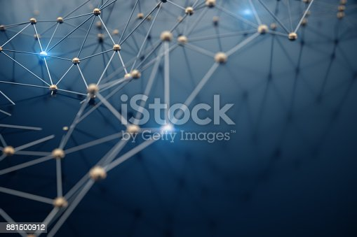 istock 3D Illustration abstract background, connection and lines of technology. Abstract background network and cloud computing. 881500912