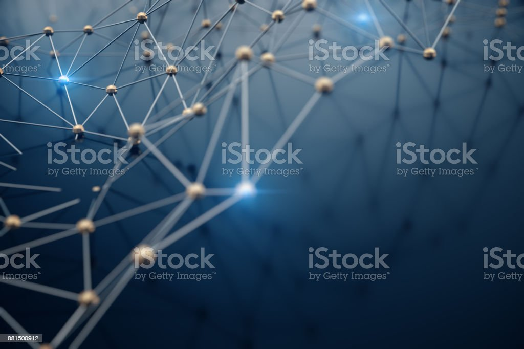 3D Illustration abstract background, connection and lines of technology. Abstract background network and cloud computing. stock photo