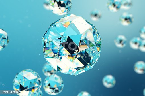 istock 3D illustration abstract background of chaotic low poly spheres consisting of gem or diamond. Particle in dusty space. Futuristic background with depth of field effect, bokeh. 899926894