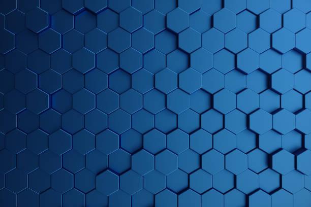 3d 插圖抽象的深藍色的未來表面六邊形圖案。藍色幾何六角抽象背景。 - 蜂巢式樣 個照片及圖片檔