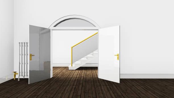 3d illustration wohnung renoviert altbau - flügeltür wohnzimmer stock-fotos und bilder