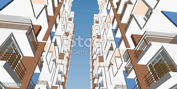 173620207 istock photo 3D illustration architecture building 1143853710