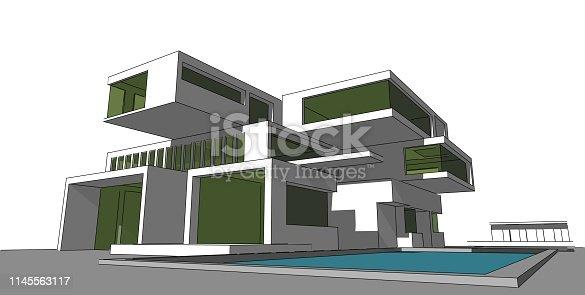 1145563376 istock photo 3D illustration architecture building. 1145563117