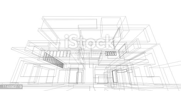 1145563376 istock photo 3D illustration architecture building. 1145563119