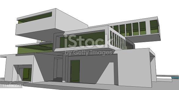 1145563376 istock photo 3D illustration architecture building. 1145563341