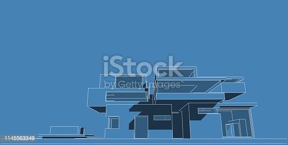 1145563376 istock photo 3D illustration architecture building. 1145563349