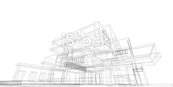 istock 3D illustration architecture building. 1145563376