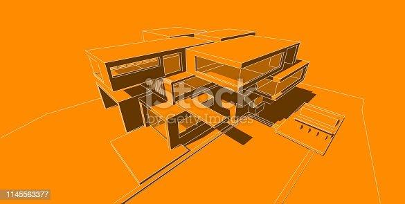 173620207 istock photo 3D illustration architecture building. 1145563377