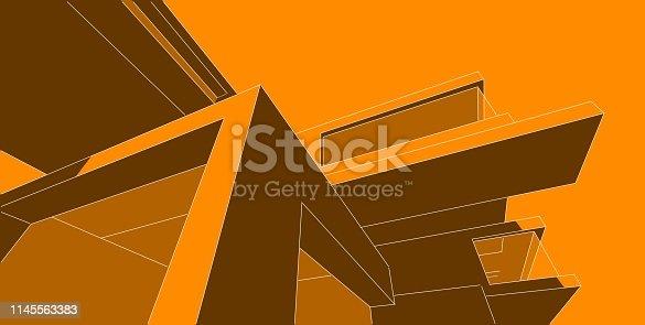 1145563376 istock photo 3D illustration architecture building. 1145563383